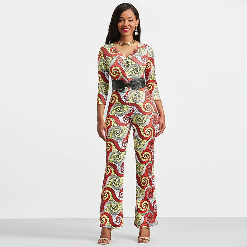 Colorful Jumpsuits Rompers 2018 Women Deep V Neck Polyester Night