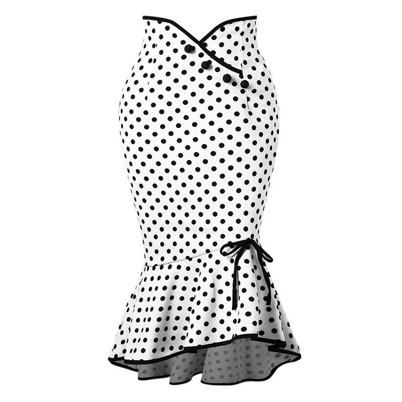 565f76741 Clocolor Polka Dot Skirt Women Asymmetrical Mermaid Bodycon High Waist Pencil  Skirts Vintage White Printed Button. Hover to zoom