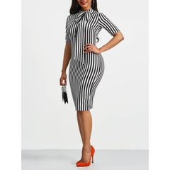Clocolor Vintage Dress Spring Autumn Retro Pin Up Bodycon Office Ladies Clothing Work Bowtie Plus Size Pencil Midi Striped Dress