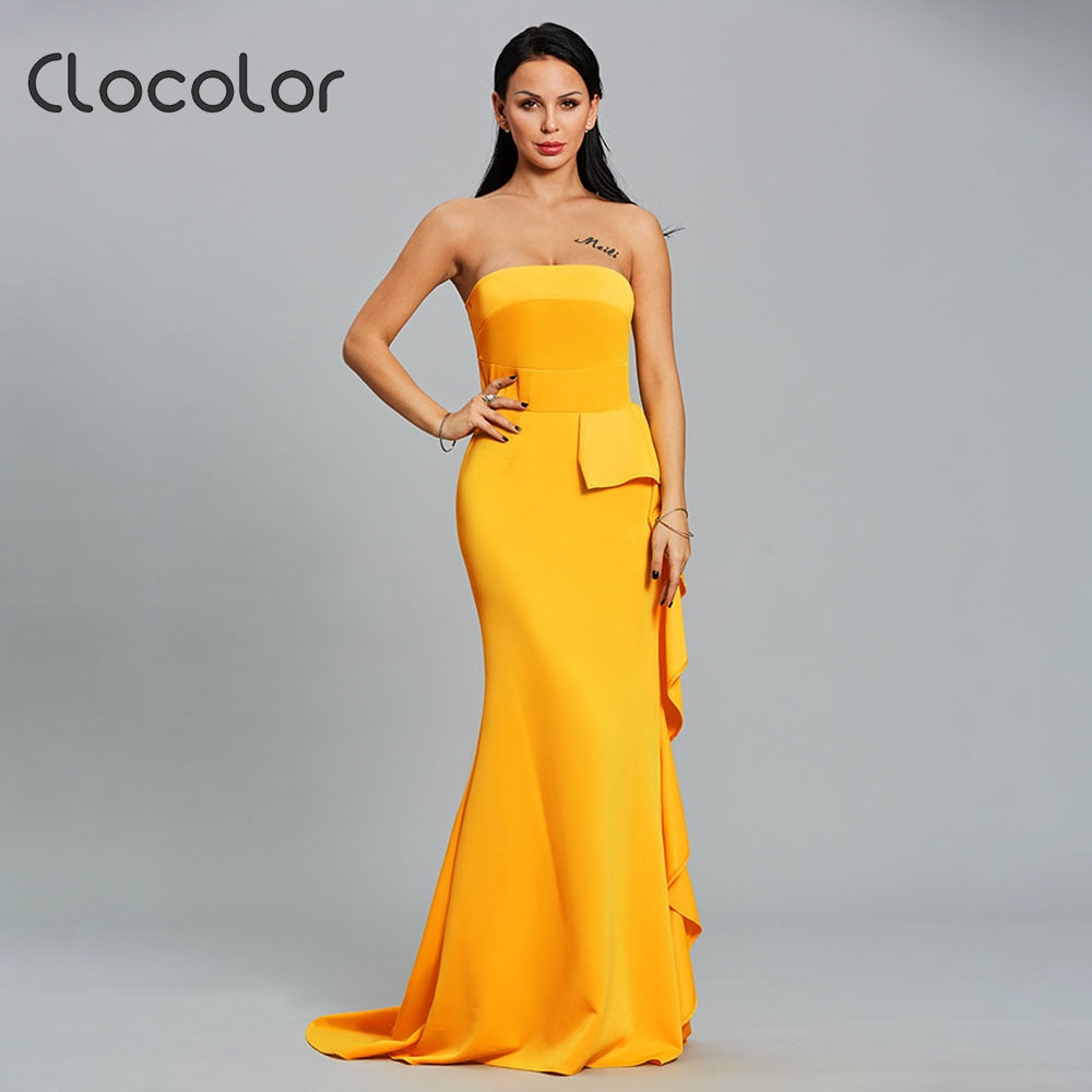 babeb6591911 ... Clocolor Women Party Dress Bodycon Strapless Ruffle Maxi Dress Female  Solid Yellow Sexy Backless Summer Plus