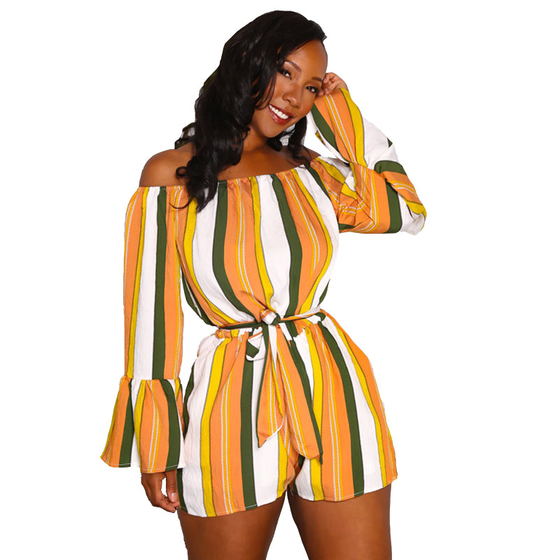 ba7632c7e755 Hover to zoom. PrevNext. Image of Clolorful Striped Off The Shoulder Romper  Women ...