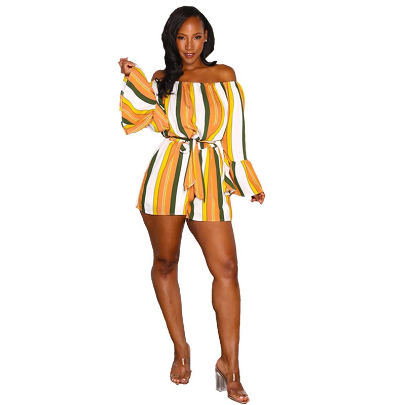 c5dc120f3b7e Hover to zoom · Clolorful Striped Off The Shoulder Romper Women Autumn 2018  Fashion ...