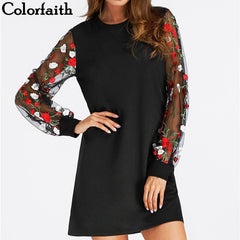 Colorfaith New 2018 Women Dresses Spring Summer Vintage Ladies mini Dresses Retro Transprent Sleeve with Floral Printed DR3263