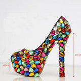 Colorful Crystal Women Wedding Shoes Handmade Waterproof Pumps Bride Super High Heel Shoes Genuine Leather Pumps Big Size 43