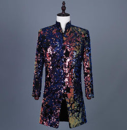 Colorful printed flip sequins blazer men suits designs jacket mens stage singers clothes dance star style dress punk rock