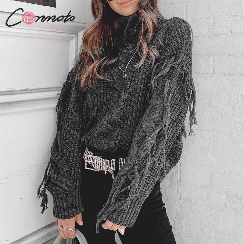 Conmoto Solid Deep Gray Casual Women Sweaters 2019 Sexy Winter Knitwear  Sweater Loose Tassel Knitted Pullovers Jumpers