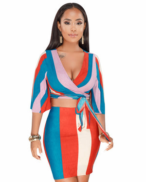 c41406aa6f14 Contrast Color Striped Sexy 2 Piece Dress Women Summer Deep V Neck Half  Sleeve Lace Up ...