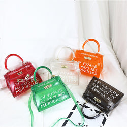 Cool and  beach transparent bag women big clear orange pvc Transparent Women Plastic Bag PVC Jelly Handbags Letter Printing Bag