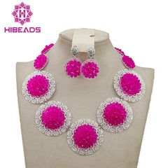 Costume African Jewelry Sets Fuchsia Pink Nigerian Wedding African Beads Jewelry  Set Crystal Beads Necklace Jewelry ... 234d34e8476c