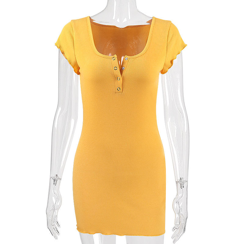 67711303b392 Cryptographic Fashion ribbed yellow dress bodycon slim short sleeve summer  dresses sexy sundress casual dress women. Hover to zoom