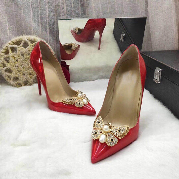 Crystal Butterfly Decoration Customized Color Elegant Thin High Heels Women Wedding Party Shoes