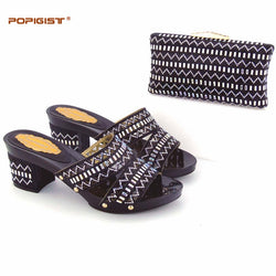 Crystal shining black novelty fashion design 7cm heels  Italian comfortable Shoes With Matching Bag Set free shipping woman shoe