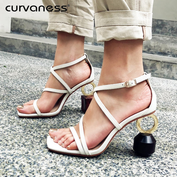 Curvaness High Heels Summer Sandals Women Shoes 2019 brand luxury Designer Ladies Leather Wedding Sandals  D heel G heel Shoes