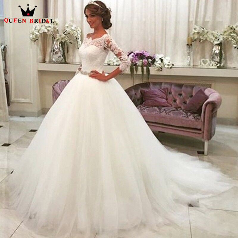 Custom Size Ball Gown 3 4 Sleeve Beading Lace Tulle Formal Wedding ...