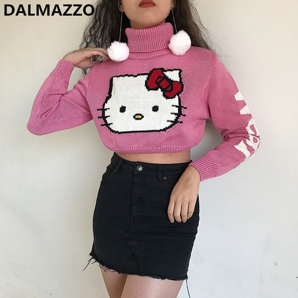Cut Sweet Cartoon KT Pink Sweater 2020 Spring Autumn Women Pullovers Turtleneck Tops Long Sleeve Leaky Waist Short Knit Sweaters
