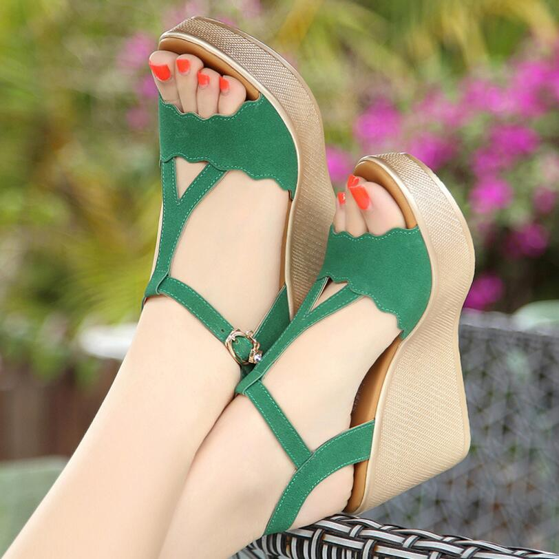 6c964f2ad5b ... Summer Shoes Ladies Sandal Heels Wedge Open Toe sandalia. Hover to zoom