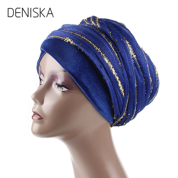 2018 Fashion Luxury Women Golden Silk Mesh Head Wrap Nigeria Turban Muslim Hijab Long Head Scarf Headscarf Long Turban