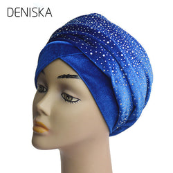 DENISKA Latest Models Womens Velvet Turban Head Wraps Fashion Long Hijab Head Scarf Turbante With Diamante Decor