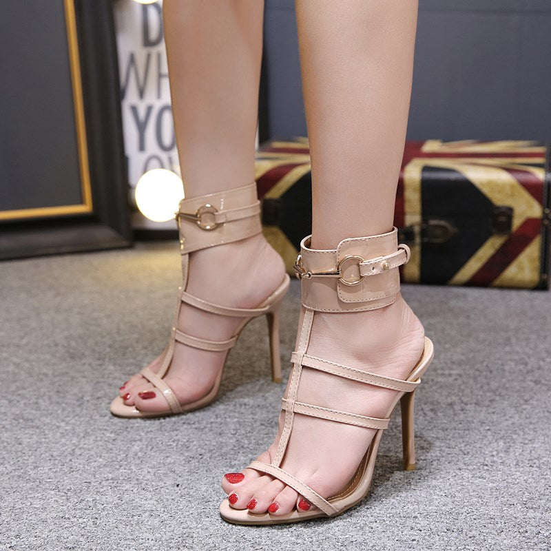 da2187876b32 ... DEleventh Gladiator Sandals Women Summer Buckle Strap High Heels Women  Narrow Band Woman Party Sandals Heels ...