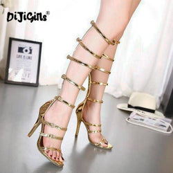 DIJIGIRLS Rome Sandals Women Knee High Cool Boots Sexy Buckle Gold High Heels Clubwear Party Shoes Gladiator High-heeled Sandals
