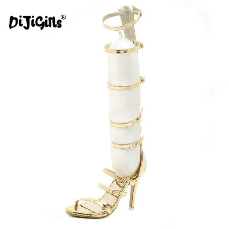 ... DIJIGIRLS Rome Sandals Women Knee High Cool Boots Sexy Buckle Gold High  Heels Clubwear Party Shoes ... 40077b749c7c