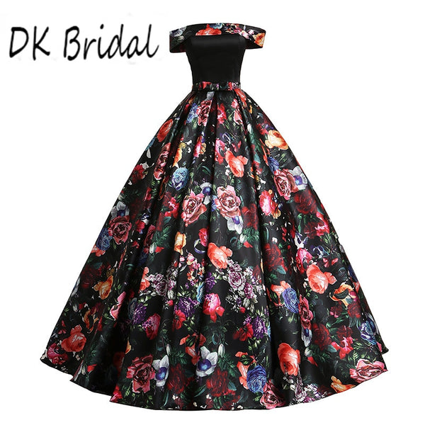 DK Bridal Off the Shoulder Ball Gown Prom Dress Long  3D Floral Print Formal Gowns Vestido De Festa DK1903