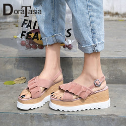 DORATASIA 2019 New Sweet Ruffles Sandals Women Summer Kid Suede Peep Toe Platform High Heels Sandals Women Shoes Woman