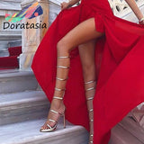 DORATASIA INS Hot Luxury Gold Gladiator Sandals Women High Heels Gladiator Sandals Women Knee High Party Shoes Woman