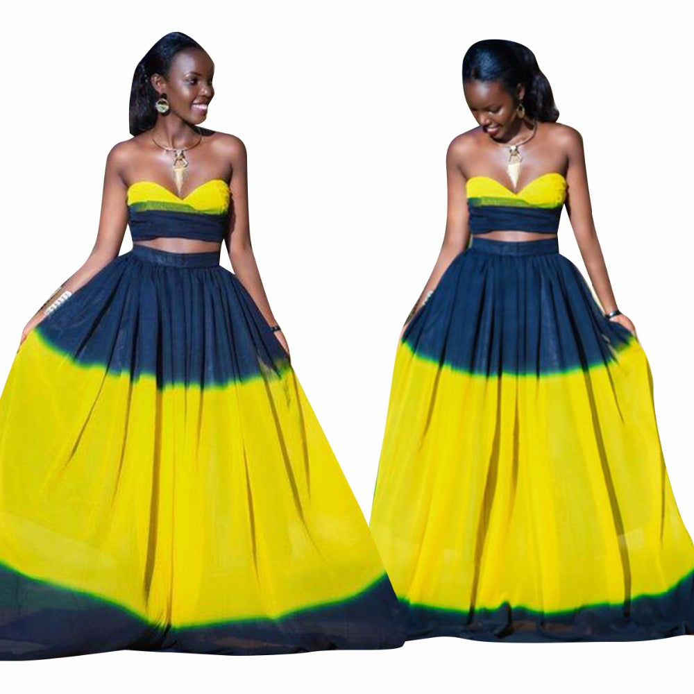 6499a7fe460 Dark Blue+Yellow Splice Sexy 2 Piece Set Lady Strapless Crop Top And Empire  Maxi ...