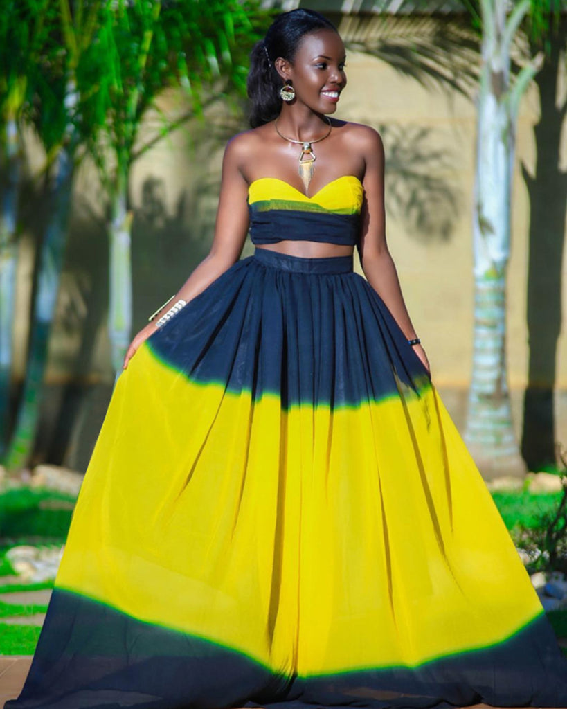 c78fb2d5d30 ... Dark Blue+Yellow Splice Sexy 2 Piece Set Lady Strapless Crop Top And  Empire Maxi ...