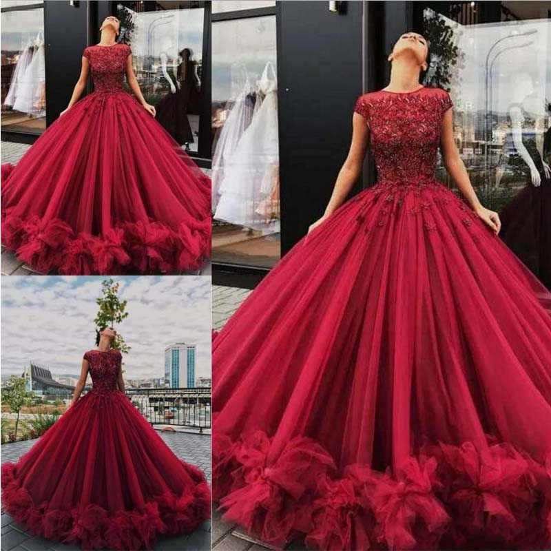0a8abebccb2 Dark Red Quinceanera Dresses Lace Ball Prom Gown Appliques Ruffled ...