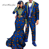 Dashiki African Couple Clothing Woman Long Dress and Man Suit Custom Print Cotton Couples Matching Clothing for Lover