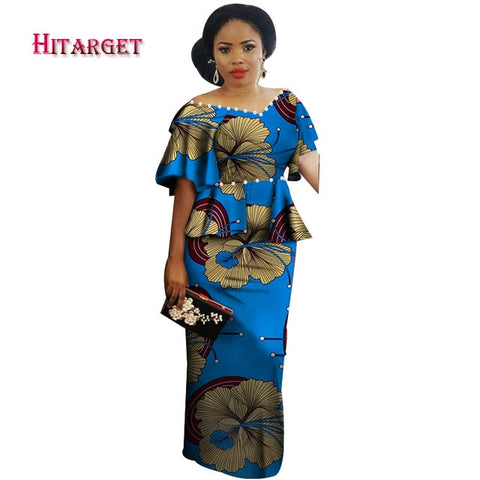 Dashiki African Dress for Woman Wedding/Party dress african prints dresses africa clothes Pearl decoration Customized  WY3862