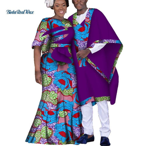Dashiki African Dresses for Women Couple Clothing Bazin Riche Men Robe Traditional African Clothing Lover Ankara Clothes  WYQ151