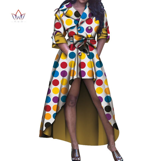 Dashiki African Trench for Women Bazin Riche Ankara Print Trench Coats Women African Clothing Causal Party FashionWY5887