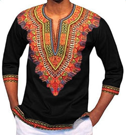 Dashiki Polyester Real Sale African Traditional Dresses 2018 Print Substitutes Style Of Sleeve Shirt Male Men Clothing