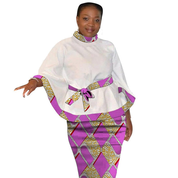 Dashiki Print Flare Sleeve Tops With Belt And Pencil Skirts African Festival Women's Outfits Customize Ankara Stylish Groom Suit