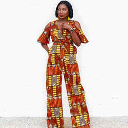 Dashiki Print Sexy Wide Leg Jumpsuit Women V-Neck Cold Shoulder Falre Sleeve Long Loose Romper Summer Casual Overalls Slashes