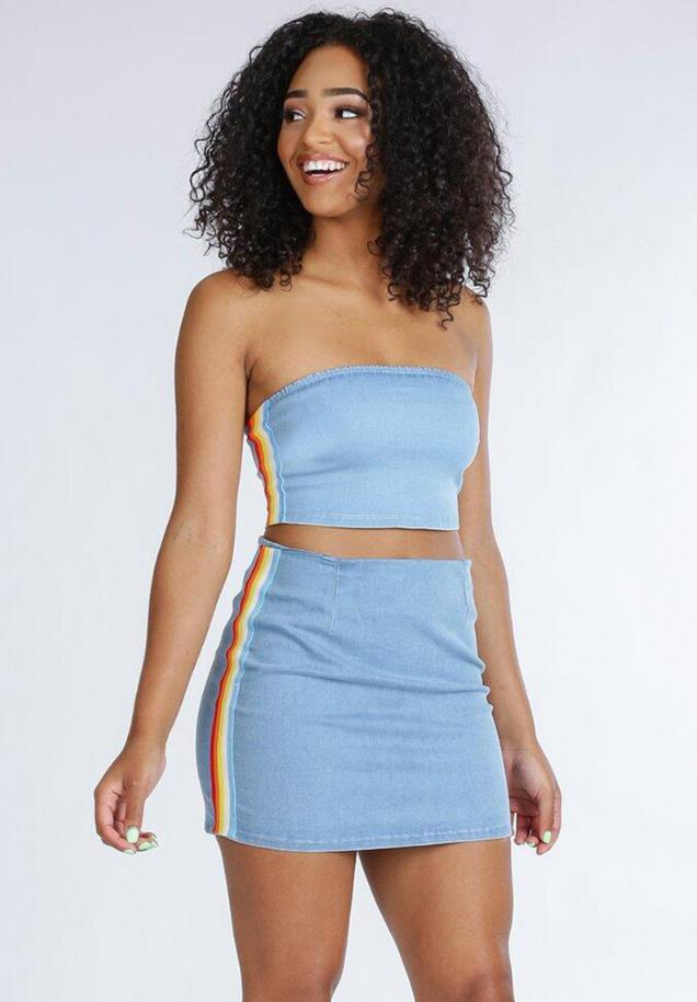 0a7fc01a81 ... women crop tops and Mini Skirts Sets 2pcs Blue Denim. Hover to zoom