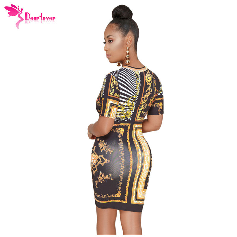 2c5f3aa03f8 Hover to zoom · Dear Lover Print Dress 2018 Sexy Summer Women Vintage Black  Gold Chain Short Sleeve ...
