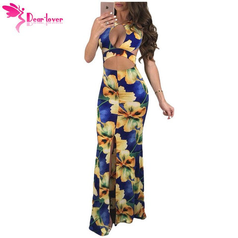 Dear Lover Print Dress Sexy Summer Ladies Daring Cutout Crop Top Blue Floral Backless Bodycon Maxi Dress Vestidos Longo LC610045