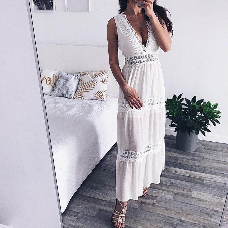 10c4beeb4e74 Deep V Elegant White Lace Sexy Dress Women Backless Hollow Out ...