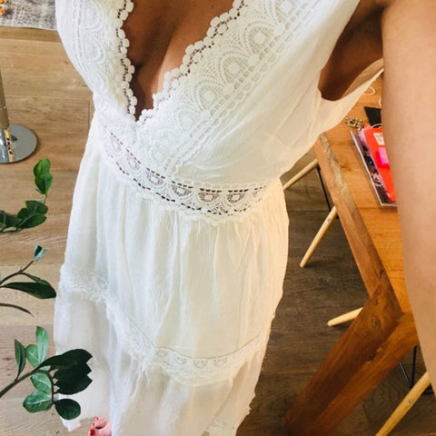 ef4fb0d1fda4a Deep V Elegant White Lace Sexy Dress Women Backless Hollow Out Summer  Chiffon Long Maxi Dresses Female Clothing S M L XL