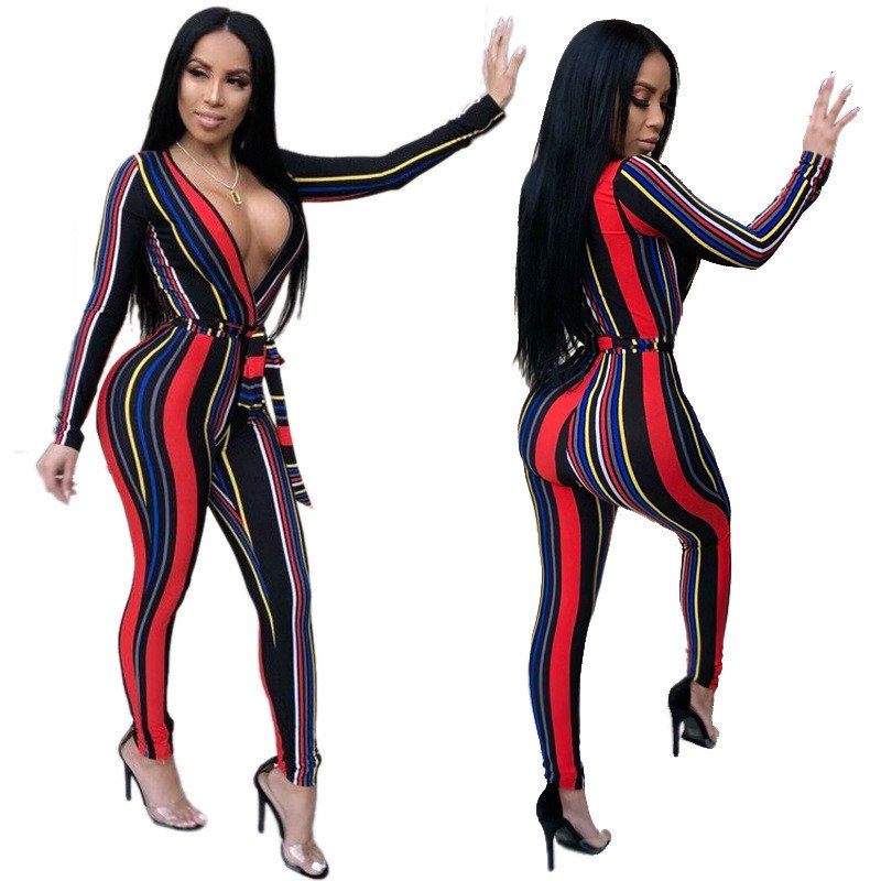 2a32210a6f9 Deep V Neck Sexy Bodycon Jumpsuit Women Long Sleeve One Piece Tight  Bodysuit Club Party Overalls ...