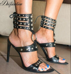 Deification Fashion Cut-outs Summer Gladiator Sandals Sexy Open Toe Ladies  Shoes Rivets Studded Sandalias ... c80bd6d724bb