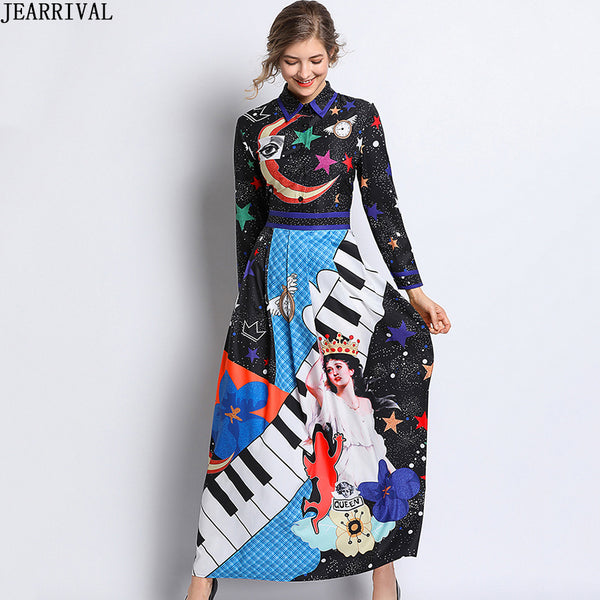 Designer Runway Dress 2019 Spring Womens Print Vintage Long Dresses Slim Fashion Elegant Maxi Dress Vestidos Mujer Robe Femme