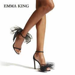 Designer Stiletto Slingbacks With Mesh Bow Sandals Luxury Sexy Peep-toe High Heel Sandals for women Bow embellished Sandles