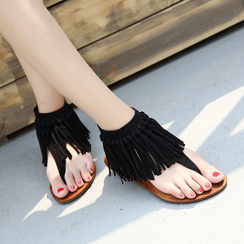 Designer Summer Women Flat Sandals Flip Flops Fringe Ladies Cover Heel  Slippers Retro Casual Shoes Sapato ... 28b3faf506