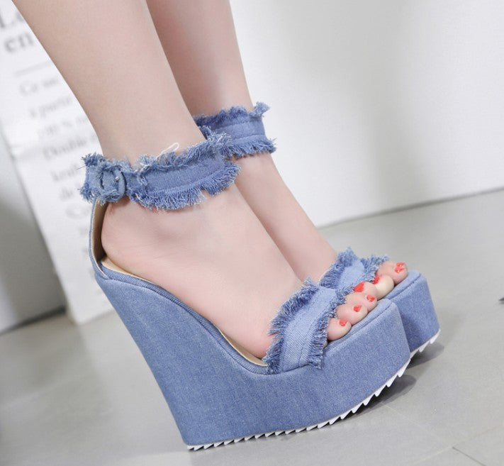 101ba7144b4 ... DiJiGirls 2018 Women Ultra Very High Heels Frayed Fringe Denim Shoes  Ankle Strap Buckle Sandals Platform