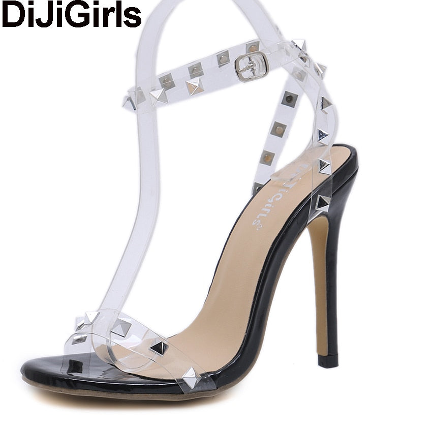 dfb8bfed135b DiJiGirls Sexy Women Sandals Summer Crystal Clear Transparent Ankle Strap High  Heels Rivets Studded Cross Strap